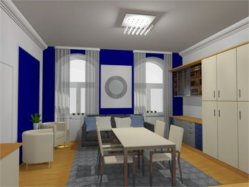 Redesign of the livingroom with a blue akcent. Design by Monika Jakubcova www.arcline.sk #interior, #interiordesign, #homedesign
