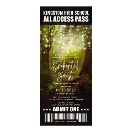 Enchanted Forest String Lights Prom Tickets Card - prom chic party gift idea diy promenade dance event