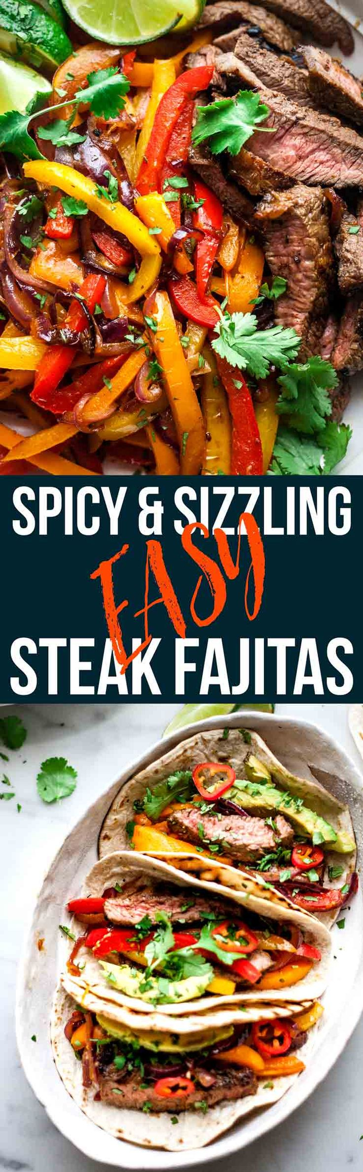 These easy beef fajitas will be a new family classic. Tender and juicy beef steak in a smokey and spicy homemade marinated. Grilled beef and veggies wrapped in soft tortillas with avocado and lime. Kitchen tested, family approved. via @saltedmint1