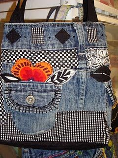 Ideas.. Old blue jeans bag... I would use a lot of little crochet motif instead of fabrics, fake leather maybe..