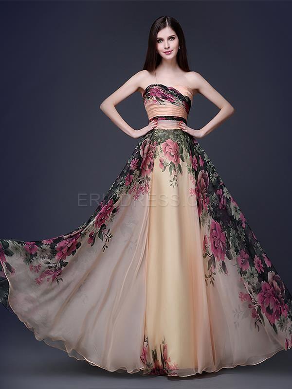Ericdress Strapless A-Line Floor-Length Printing Evening/Prom Dress Evening Dresses 2015- ericdress.com 11366210