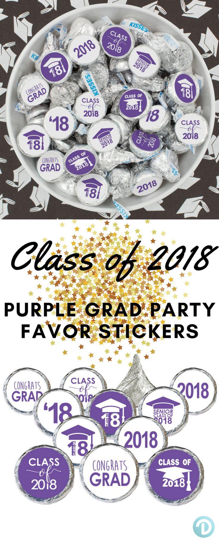 Purple Graduation - 2019 Grad Party Favor Sticker - 216 Count