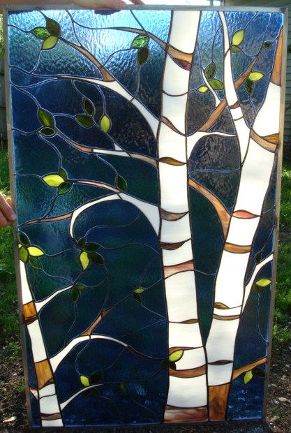 Nice Panel With Birch Tree Stained Glass Pinterest