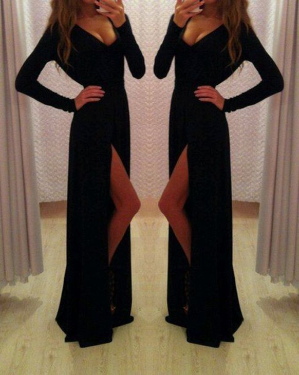 Pd252 Sexy Prom Dress,V-Neck Prom Dress,Long Sleeve Prom Dress,Sheath Prom Dress