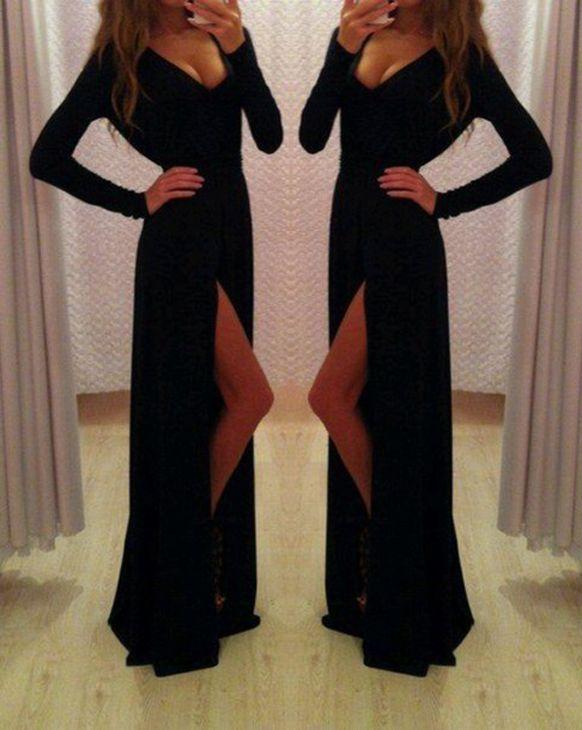 Sexy Prom Dress,V-Neck Prom Dress,Long Sleeve Prom Dress,Sheath Prom Dress,PD1700684