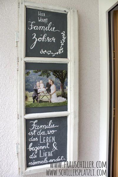 Heimwerken, Selbermachen, Türklinke, Kreidefarbe, Beschriftung, altes Fenster, Tafel, …   – Kreativ
