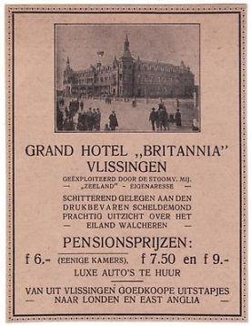 Oude reclame 1928 advertentie uit een tijdschrift grand hotel britannia aan de boulevard in Vlissingen.
