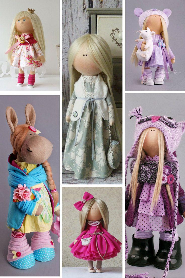 Owl doll Tilda doll Interior doll Art doll blonde violet colors Soft doll Cloth…