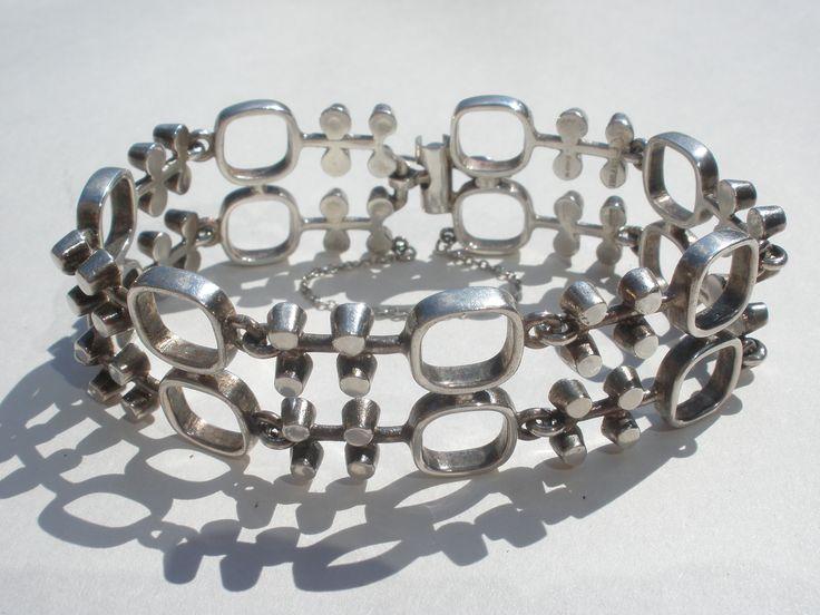 Jorma Laine 'Vanamo' silver bracelet, Finland, c.1965. I sold this beautiful modernist bracelet at the verzamelaarsjaarbeurs in November 2016 to a Dutch collector of Jorma Laine silver jewellery.