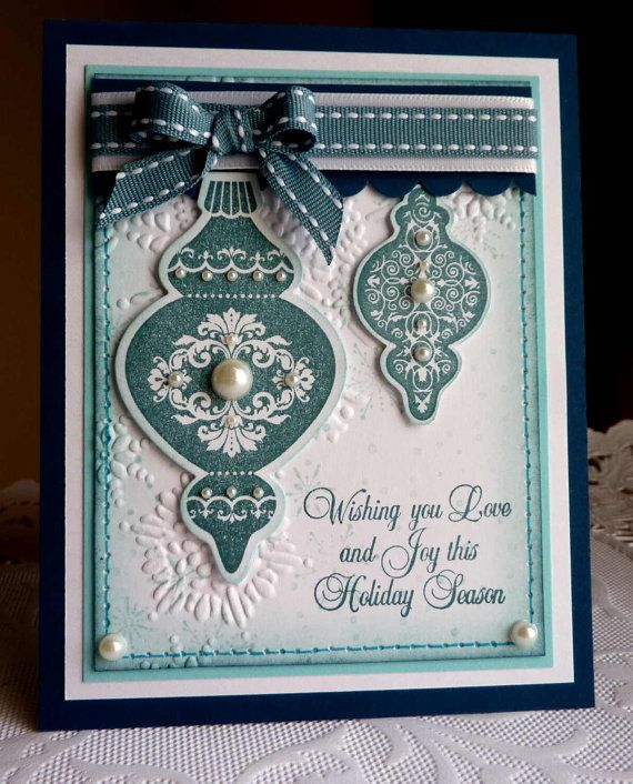 """Stampin up! Handmade card  """"Happy Holidays 2"""" blue - NEW"""
