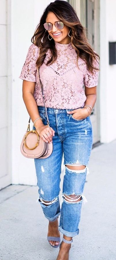 #summer #outfits  Pink Lace Top + Ripped Boyfriend Jeans + Purple Sandals