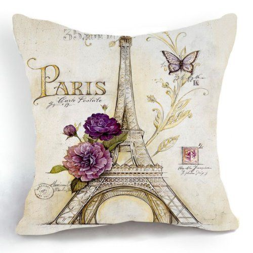 OJIA Retro Vintage Sketch Eiffel Tower Purple Flower Home 18 X 18 Inch Cotton Linen Decorative Throw Cushion Cover / Pillow Sham