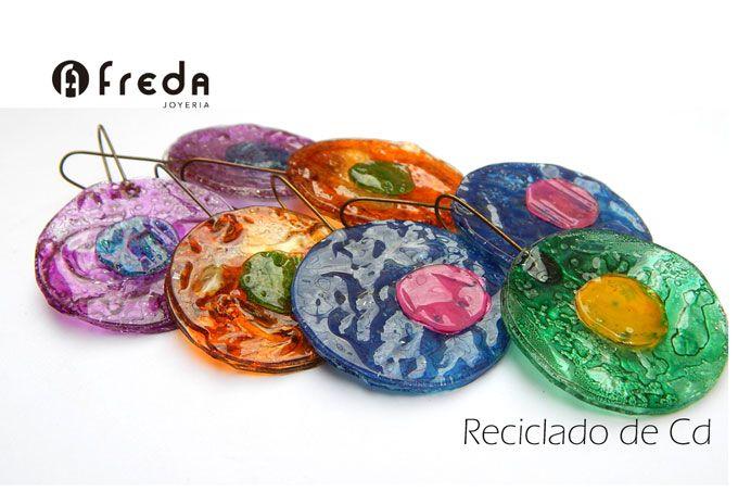 FREDA. Reciclado de CD. Aros circulares grandes