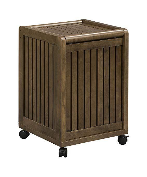 New Ridge Home Goods Abingdon Solid Birch Wood Mobile Hamper With
