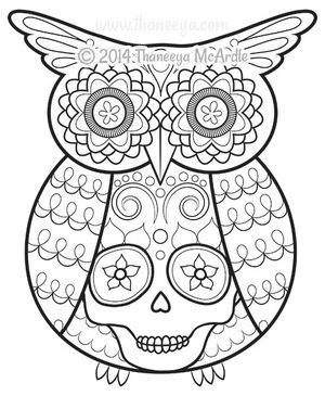 day of the dead coloring book owl by thaneeya - Cute Halloween Owl Coloring Pages