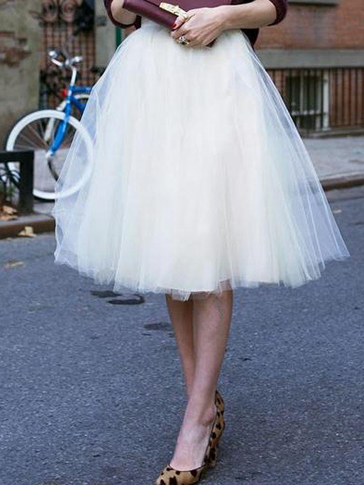 Blanco de cintura alta falda de tul de malla del patinador