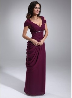 Special Occasion Dresses Sheath V-neck Floor-Length Chiffon  Charmeuse Homecoming Dresses With Ruffle  Beading (022011315)