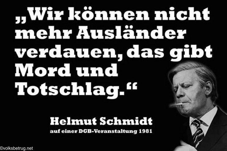 Wir können nicht mehr Ausländer verdauen, das gibt Mord und Totschlag. — Helmut Schmidt, 1981