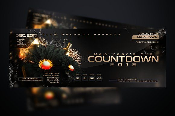 NYE Countdown Flyer Template by Stormclub on @creativemarket