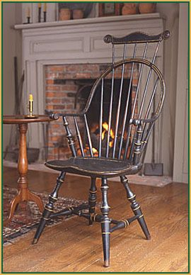 Windsor chair, note white fireplace
