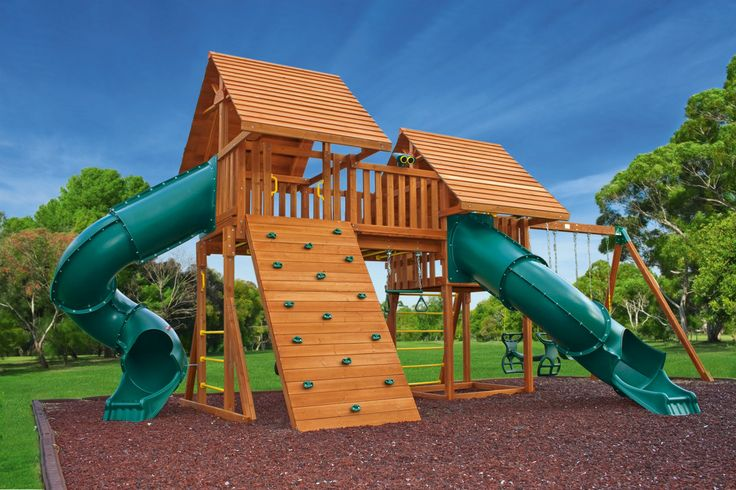 10 best fantasy swing sets images on pinterest tire for Wooden swing set with bridge