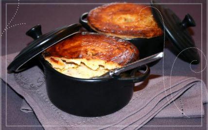 Recette - Cocotte de noix de pétoncles et crevettes aux poireaux façon tourte | Notée 4.5/5