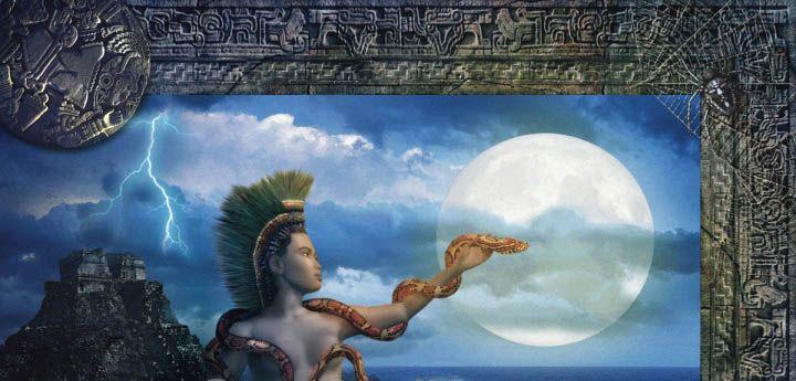 DEUSA Ixchel, Senhora do Arco Íris, deusa da Lua e da Serpente na mitologia Maia.