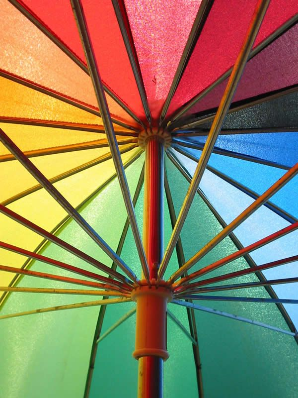 Rainbow Umbrella, just in case it rains on your rainbow wedding day