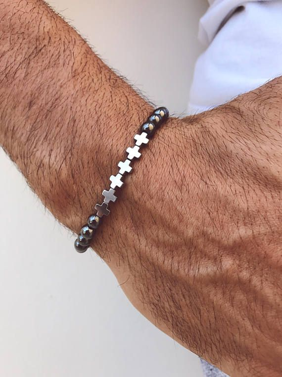 Crosses Bracelet Men, Hematite Bracelet, Crosses Jewelry, Men's Bracelet, Hematite Bracelet Men, Gift for Him, Made in Greece.