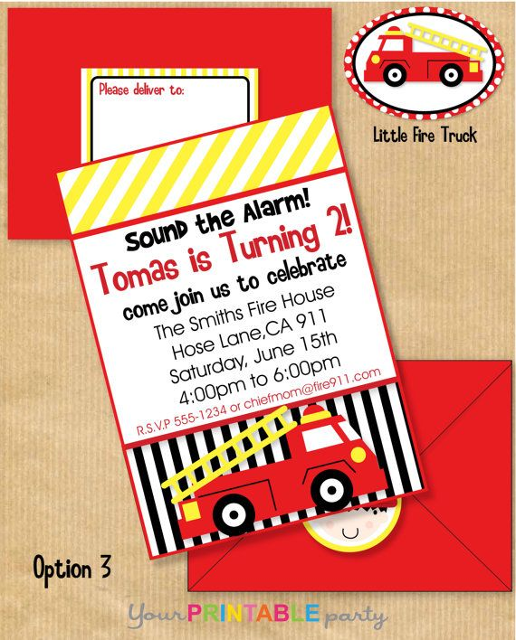 7 best images about Michael turns 1 – Fire Truck Party Invitations