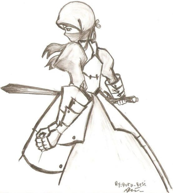 Line Art of Girl With Sword
