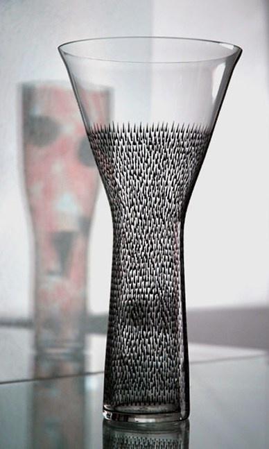 Frantisek Tejml, painted glass goblet decorated by geometric-zoomorphic structures, 1958, Prague, Czechoslovakia