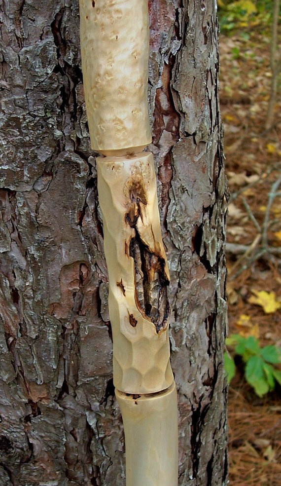 Hand carved walking stick figured maple wood