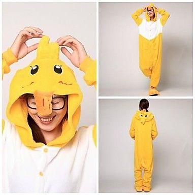 Cute Yellow Duck Adult Coral Fleece Kigurumi Pajamas Animal Sleepwear