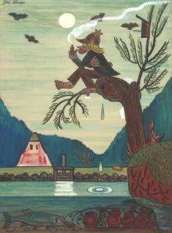 Josef Lada: Vodník, 1936, akvarel, sbírka RMaG v Jičíně