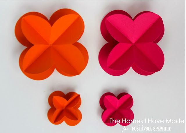3D Paper Wall Flowers | Positively Splendid {Crafts, Sewing, Recipes and Home Decor}
