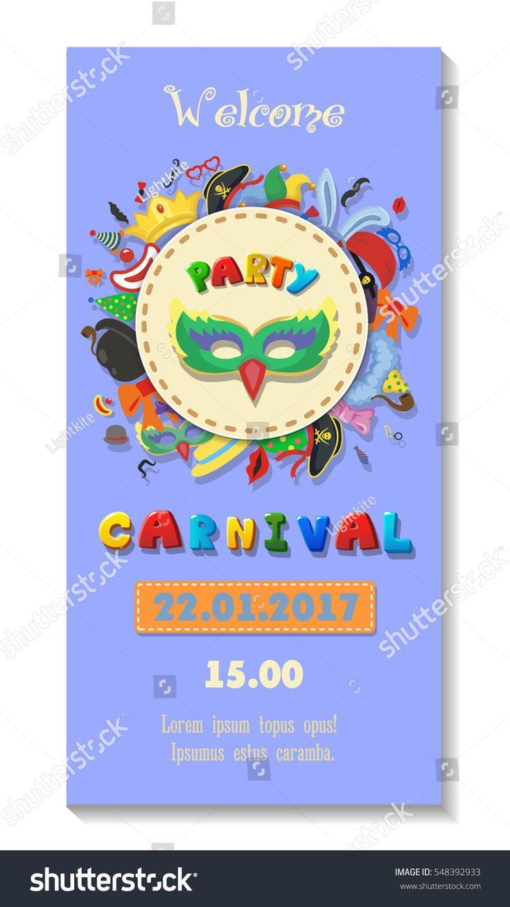 Carnival party poster design. Flyer or invitation template. Funfair ticket vector illustration