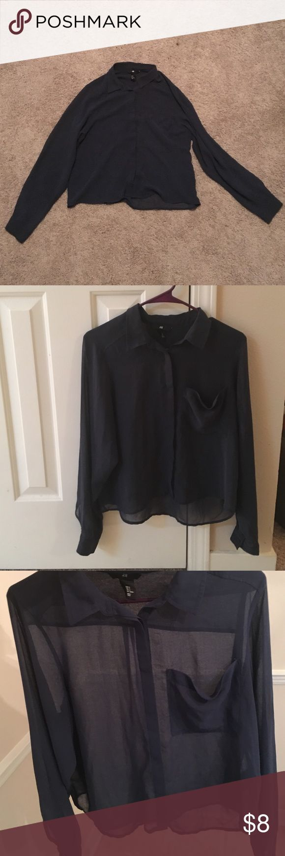 Navy blue blouse Sheer, navy blue, collared button down blouse that is shorter in the front than the back. Only worn once and great for multiple outfit options! H&M Tops Blouses