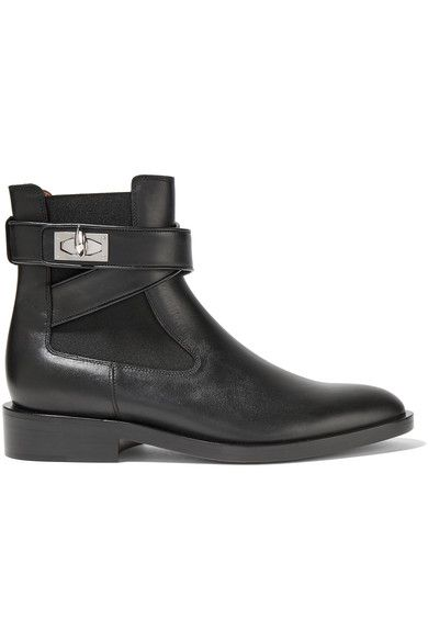 Givenchy - Shark Lock Leather Ankle Boots - Black