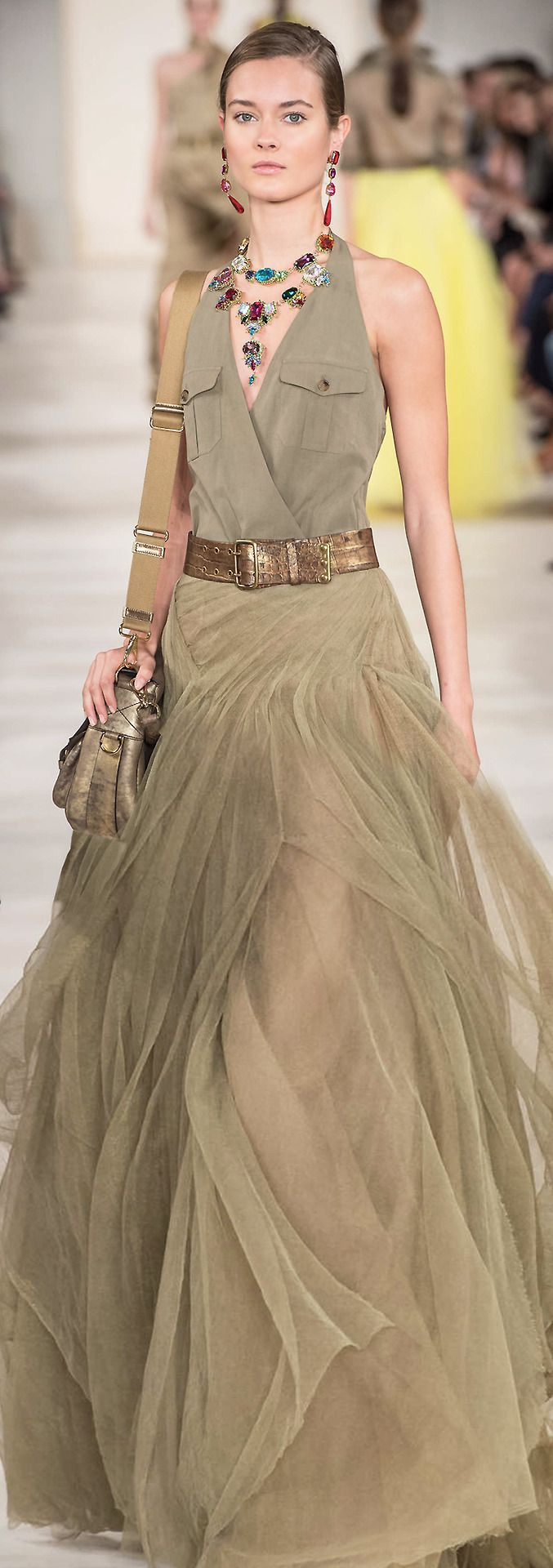 Serious necklace layering!!  Ralph Lauren ss 2015 http://hermansfashion.wordpress.com/
