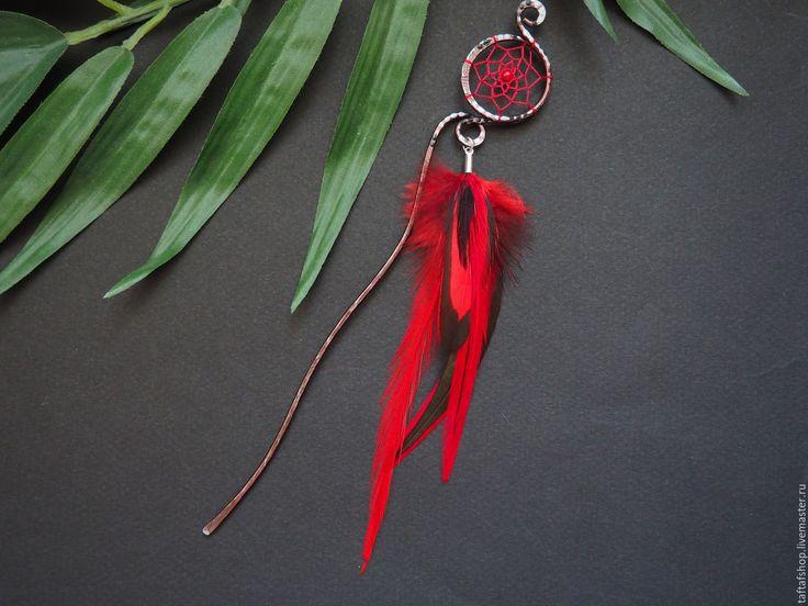 Шпилька для волос, с перьями - Огненная, красный, чёрный - перо, перья, перья в волосы