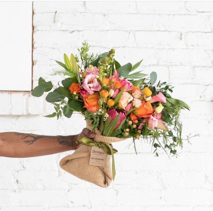 Farm girl flowers burlapwrapped bouquey gradgift