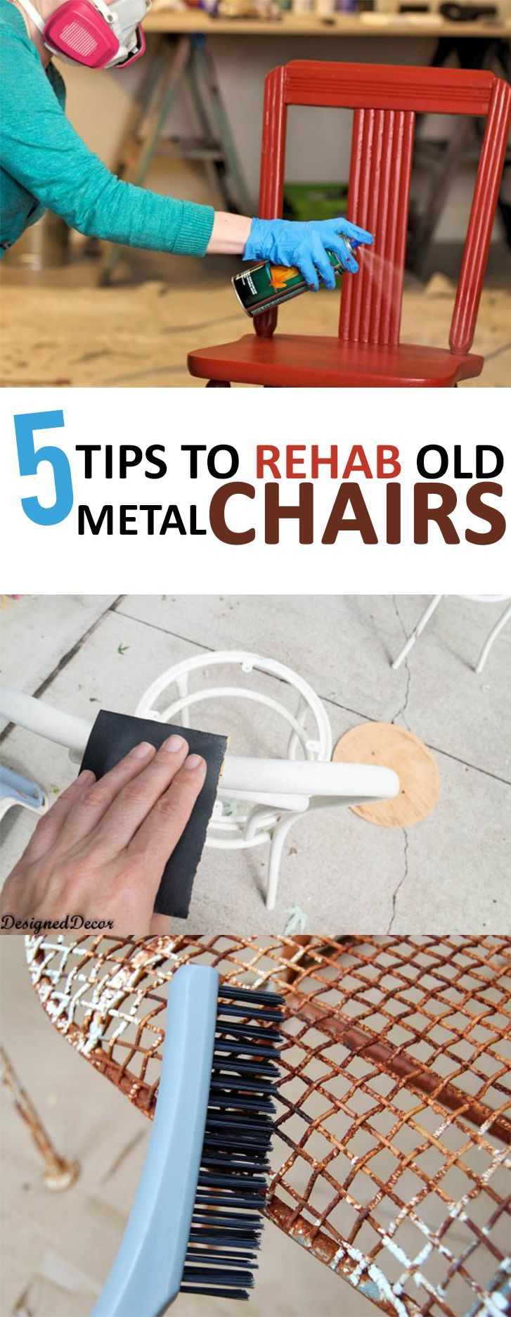 Metal chairs, rehabbing metal chairs, DIY metal chair rehab, outdoor furniture, DIY outdoor furniture, popular pin, furniture flips, how to flip furniture