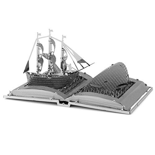 Fascinations Metal Earth Moby Dick Book Sculpture 3D Metal Model Kit  Gift Envelope Includes - Unassembled Model - Easy to Follow Instructions  2 Sheets - Difficulty Level: Moderate  No Glue or Solder Needed  Ages 14+