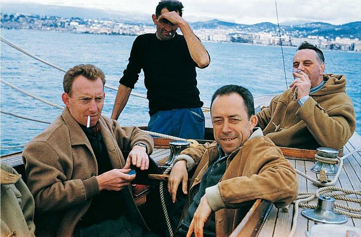 Albert Camus, René Lehmann, Emile Leon, and Michel Gallimard in Cannes, 1950.