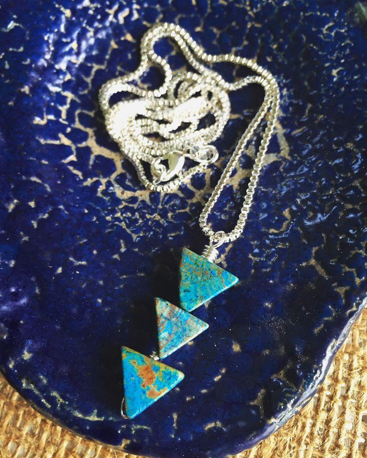 "Tripple Triangle ""Arrow"" Blue Calsilica & Sterling Silver Simple Pendant Necklace - Layering Necklace - Triangle Necklace by Adrienne Adelle adrienneadelle.com"