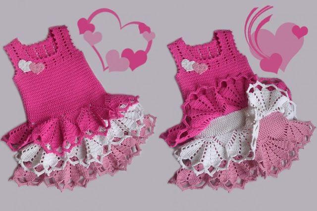 ergahandmade: Crochet Valentine Dress for little Girls + Diagram + Free Pattern