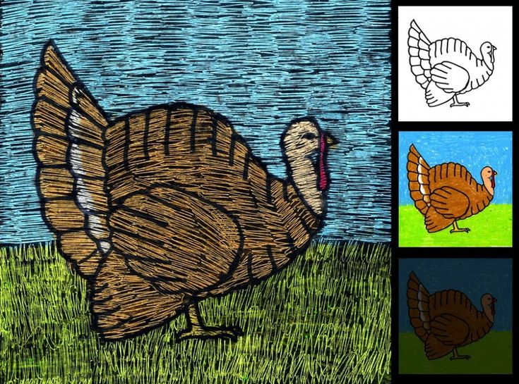 Make a scratch art turkey with layered oil pastels. Turkey template available for download. #artprojectsforkids #turkey #thanksgiving