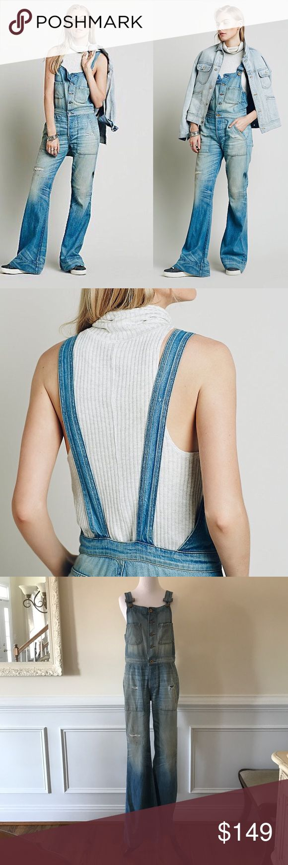 """🎉HP🎉New Free People NSF Coolidge Retro Overalls Super soft, distressed, and worn-in retro inspired one-piece featuring button-down closures. Four-pocket styling with wide legs. Low back with adjustable straps. Please note that the distressing includes whiskering, holes, and stains. NSF  These overalls are a sample and are new and never worn. They were purchased at the manufacturer's outlet center. No size tag is attached, but by all measurements I estimate a small. Inseam approx. 33 1/2""""…"""
