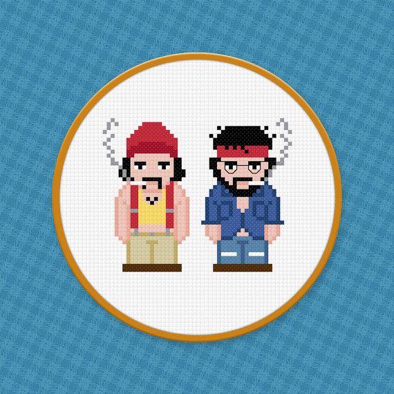 Cheech and Chong - Up In Smoke - Digital PDF Cross Stitch Pattern